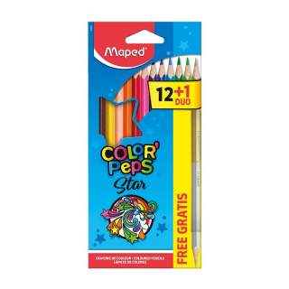 Drvene bojice 12 MAPED Color peps + srebrna/zlatna bojica