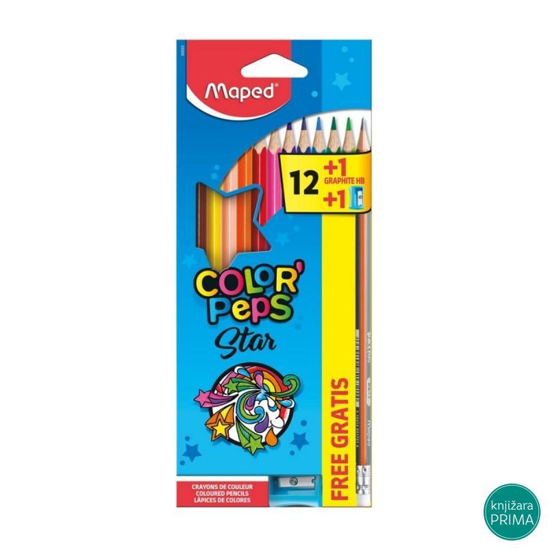 Drvene bojice 12 MAPED Color peps HB+zarezač